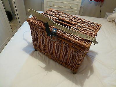 Fishing Equipment -wicker basket, tackle box, 2 rods, 3 reels, leather rod bag