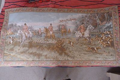 Vintage Large French Beautiful Hunting Scene Tapestry 65 inch * 32.5 inch !!!
