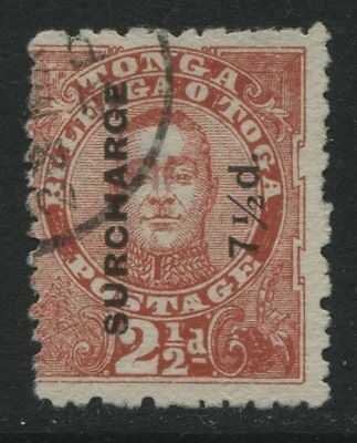 Tonga: 1895 7½d surcharge on King George II 2½d stamp SG31 Used - AC126