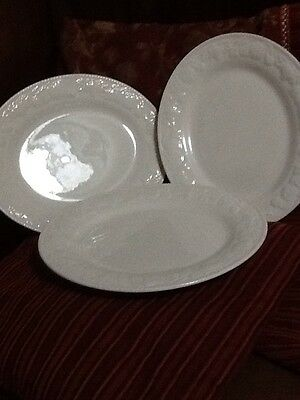 "BHS British Home Stores Lincoln Oval Steak Plates 12"" X 10"" X3 Embossed Cream"