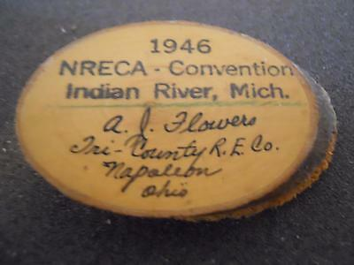 1946 National Rural Electric Coop Association Pin From Indian River Mi