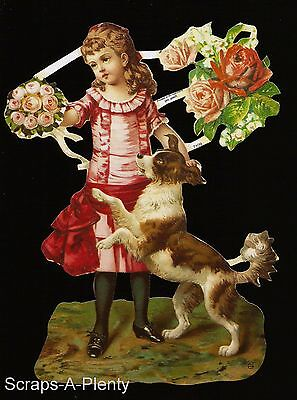 German Victorian Style Embossed Scrap Die Cut - Playful Dog & Child WOW  EF7109