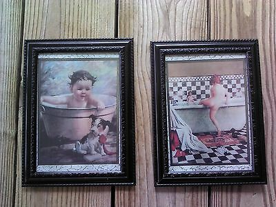 💗 Vintage Kids In Tub Pictures 5x7 Bathroom Wall Hanging Home Decor Bath