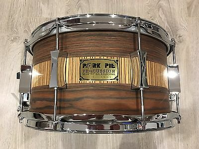 "Pork Pie 13"" X 7"" Rosewood/zebra Wood Over Maple Snare Drum-Excellent Condition"