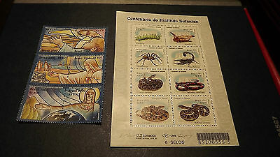 Brazil Stamps 2 mini sheets 14 mint unused stamps Reptiles & The Year 2000