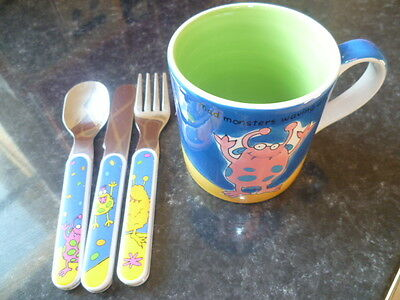 Childrens Whittard Monster Cup and matching knif, fork and spoon