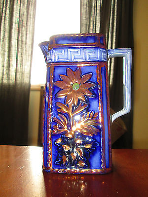 """Antique Flow Blue Copper Luster Releif Floral Ironstone Pitcher 7 9/16"""" tall"""