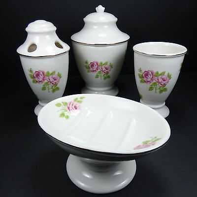 . MARTHA STEWART EVERYDAY Bathroom Accessories Tea Rose Porcelain   4 Piece  Set
