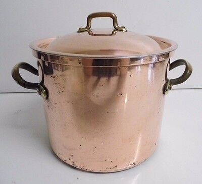 Vintage B&M Benjamin & Medwin Douro Solid Copper Plated Kitchen Lidded Pot Pan
