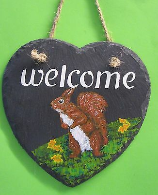 """HAND PAINTED """" Welcome """" Squirrel on a SLATE HEART"""
