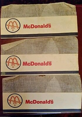 Set of 3 Vintage McDonald's Fast Food Employee Paper Net/Mesh Hats Golden Arches