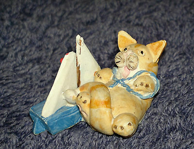 "Peter Fagan Colour Box Cat Ginger Tabby with Sailing Yacht  ""Toy Buoy"" 3.5x2cm"