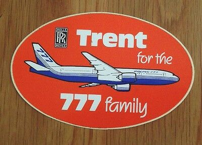 """Collectable Rolls Royce Sticker """"RR Trent for the 777 family"""" 115mm x 75mm"""