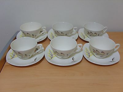 """Midwinter """"Falling Leaves"""" Cups & Saucers x 6"""