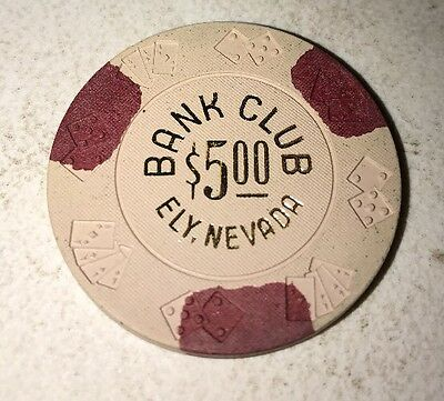 Bank Club $5 Casino Chip Ely Nevada 2.99 Shipping