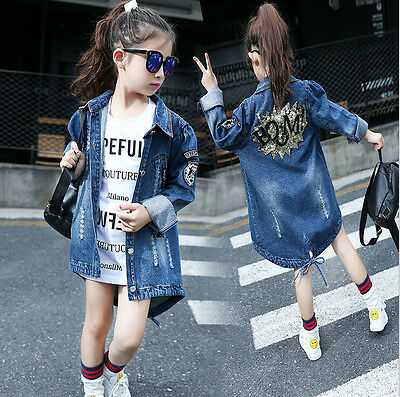 Hot Kid Girls Outfits Overcoat Printing Sequins Denim Jacket Parka Trench Coat