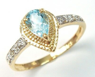 9Ct Yellow Gold Natural Sky Blue Topaz & Diamond Lady Ring