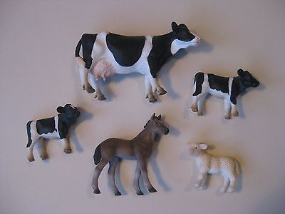 Schleich Figures / Friesian Dairy Cow Calves / Hanoverian Foal / Lamb / Retired