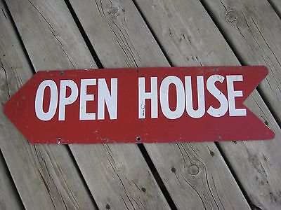 Vintage Metal Open House Sign / Arrow Shaped