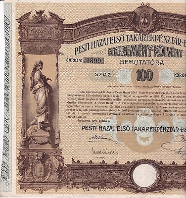 Old Vintage Share Bond 1906 Hungary Budapest Complete Four Page