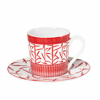 Paire Tasse Cafe 12 Cl Porcelaine Decor Madras Rouge
