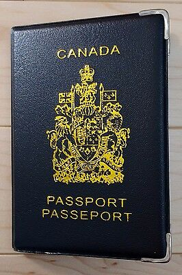 Canadian Canada Plastic Vinyl Passport Cover Protector Holder Sleeve - Black