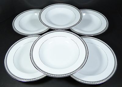 Set of 6 Gorham LADY ANNE SIGNATURE PLATINUM Rimmed Soup Bowls 8 1/2""