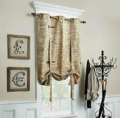 Tan Parisian French Script Tie Up Shades Insulated Window Treatment Curtains New 44 99 Picclick