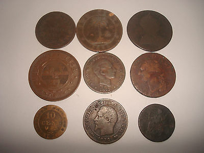 LOT OF OLD COPPER COINS FROM 1700`s 1800`s -,FRANCE,BRITISH,ETC
