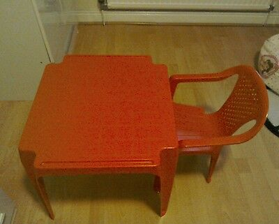 Childrens red plastic table and chair. Collection only lancs bb4