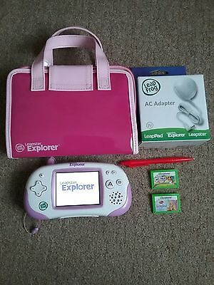 Pink Leap Frog Leapster Explorer & 3 games & accessories