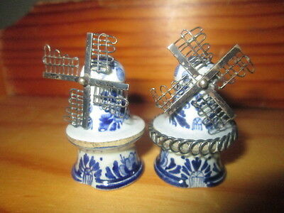 nice little pair of willmill salt and pepper pots in hand painted delft pottery