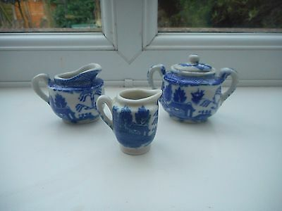 "3 Vintage Willow Pattern Pottery Miniatures - Two Jugs & Lidded Bowl 1.5 -2"" H."