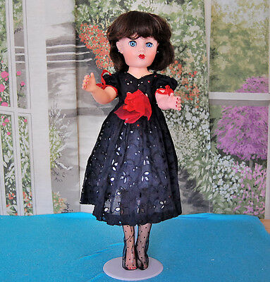 """Lovely Vintage 18"""" Revlon type Doll with Dark Brown Hair and Blue Eyes"""