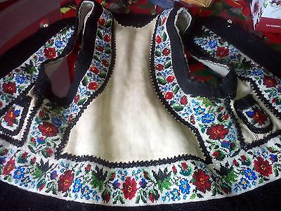 SALE!!! Ukrainian embroidered vest (keptar), bead,1920-1940,Bukovina,Ukraine,S-M