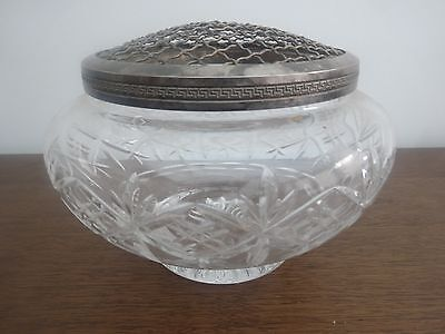 Vintage Glass and Silver Rose Bowl