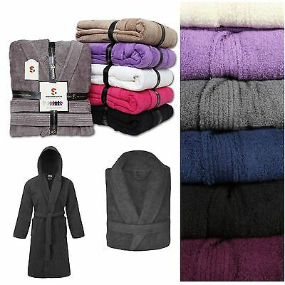 100% Egyptian Cotton Soft Towelling Terry Towel Bath Robe Dressing Gown