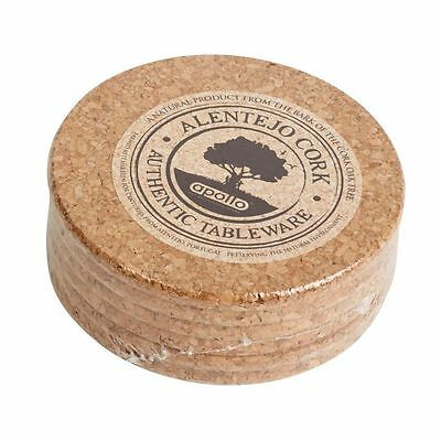 Set of 6 10cm Round Natural Cork Table Coasters Tableware Accessories