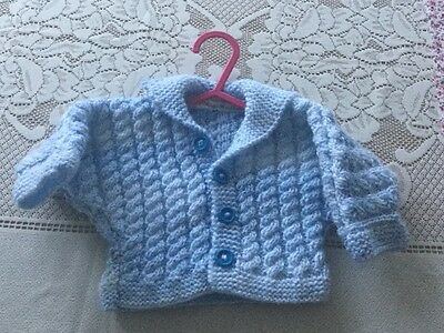 Hand Knitted Baby Boy Cable Knit Cardigan - 0 - 3 months