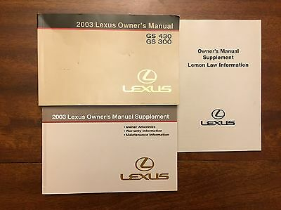 2003 Lexus GS430 GS300 Owners Manual Set Fast Free Shipping