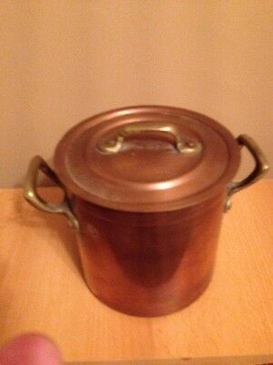 Copper Pot And Lid With Brass Handle