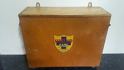 vintage wallace cameron wooden first aid box and contents bathroom cabinet ,box