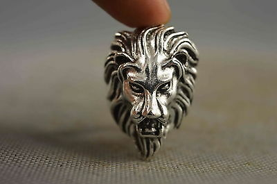 china collectable old miao silver carve lion head exorcism evil auspicious ring