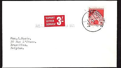 1971 Southampton Export Letter Service stamp on GB Strike Mail cover to Belgium