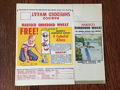 "1950's Nabisco Shredded Wheat Vintage Marbles ""Colored Alleys"" Offer Cereal Box"
