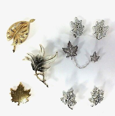 Lot Vintage Leaf Costume Collection Brooches Chatelaine Earrings Leaves VTG
