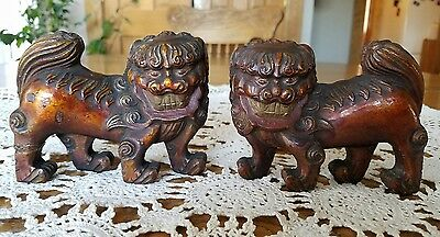 Antique Lacquared Carved Wood Chinese Foo Dogs Reddish Bronze 4.5x3.5x1.25