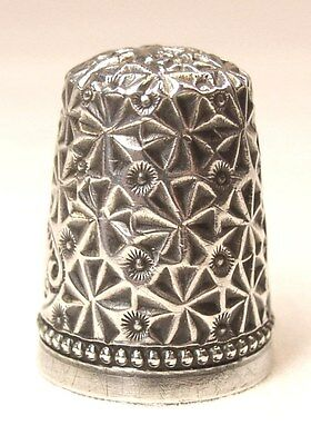 Rare Antique Simons Bros. Sterling Silver Thimble  Snowflake & Crystal Pattern