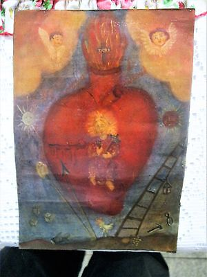 Original Antique Retablo On Tin With Images Of Angels .alarge Heart With Synbols