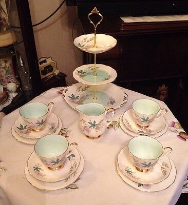 Beautiful Vintage Queen Anne Bone China Tea Set & Matching Cake Stand